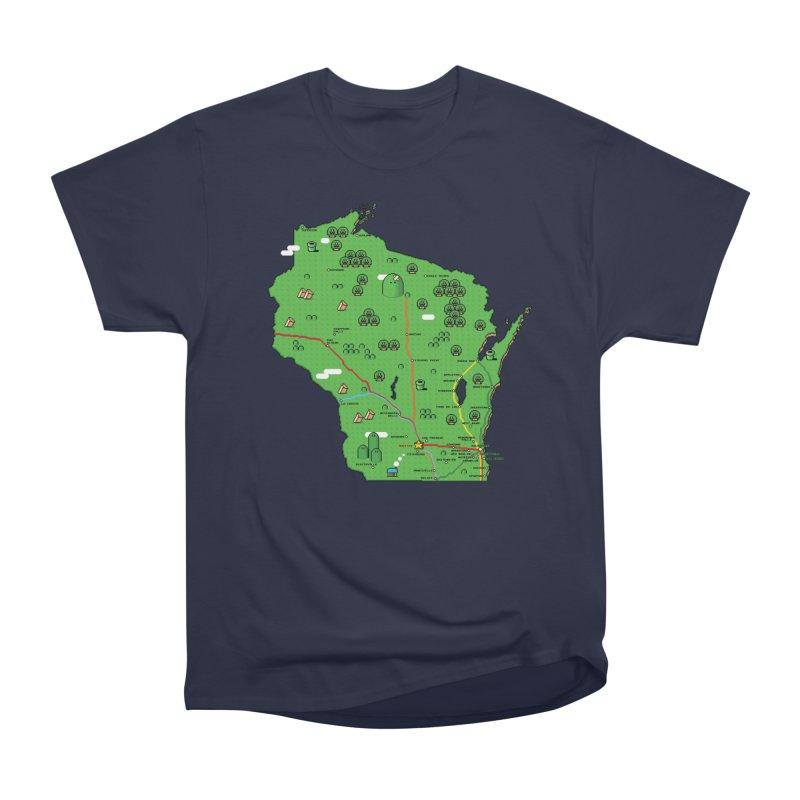Wisconsin Super Mario Map Women's Heavyweight Unisex T-Shirt by Mario Maps