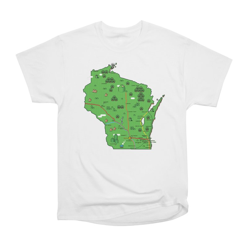 Wisconsin Super Mario Map Men's Heavyweight T-Shirt by Mario Maps