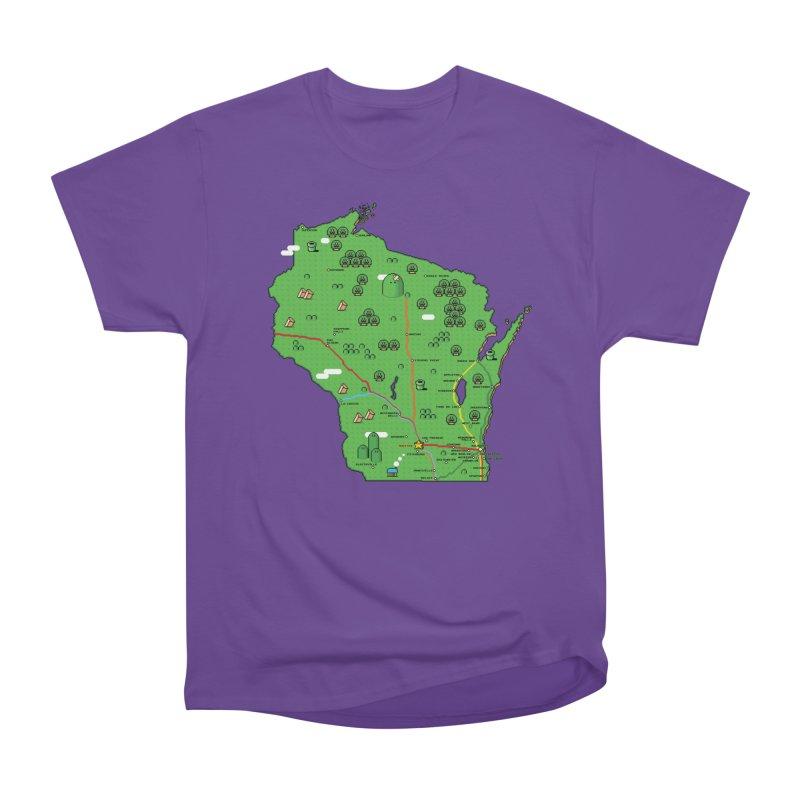 Wisconsin Super Mario Map Men's Heavyweight T-Shirt by Mario Maps