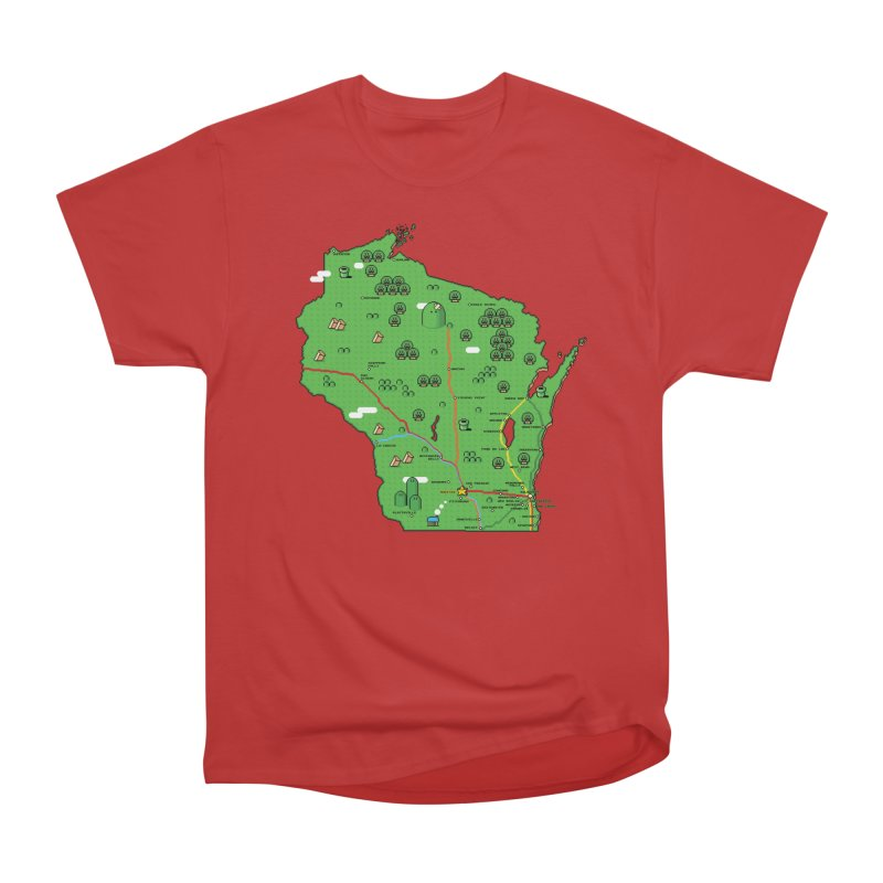 Wisconsin Super Mario Map Women's Heavyweight Unisex T-Shirt by Mario Maps