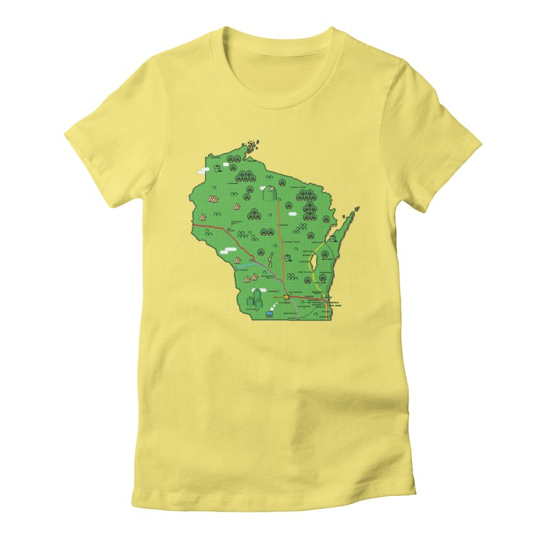 Wisconsin Super Mario Map Women's Fitted T-Shirt by Mario Maps