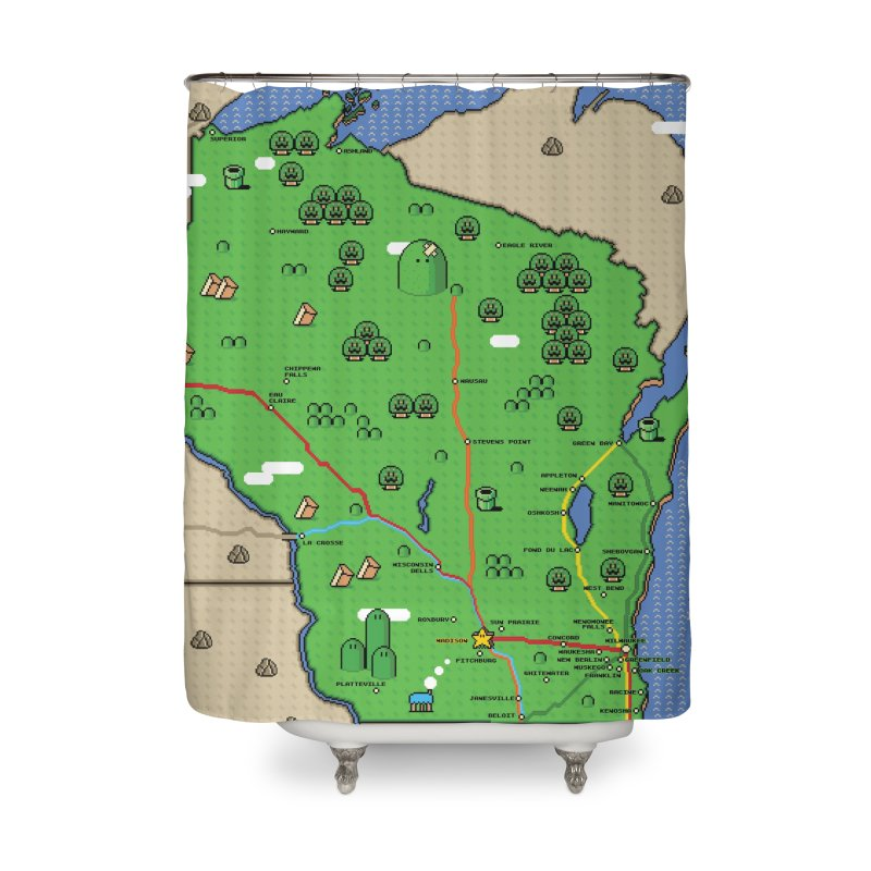Wisconsin Super Mario Map Home Shower Curtain by Mario Maps