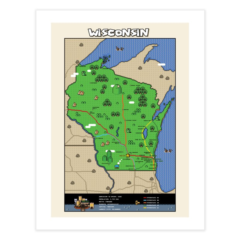 Wisconsin Super Mario Map Home Fine Art Print by Mario Maps
