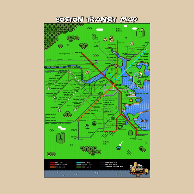 Boston Super Mario Map Home Fine Art Print by Mario Maps