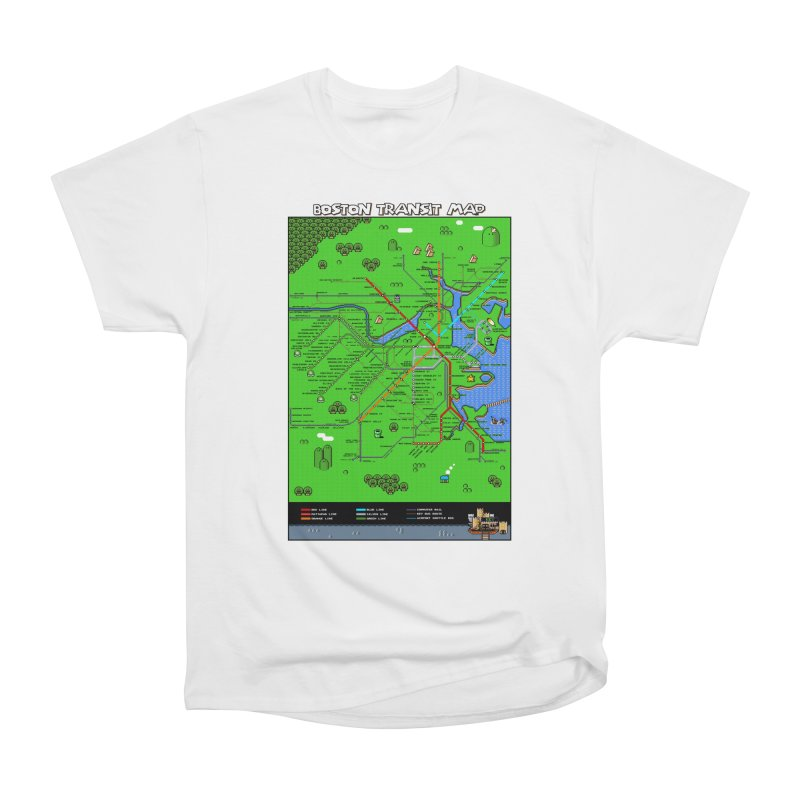 Boston Super Mario Map Men's Heavyweight T-Shirt by Mario Maps