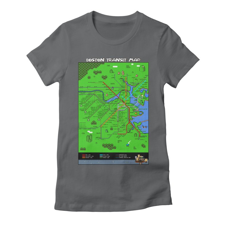 Boston Super Mario Map Women's Fitted T-Shirt by Mario Maps