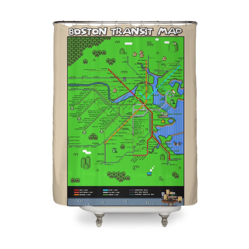 Boston Super Mario Map Home Shower Curtain by Mario Maps