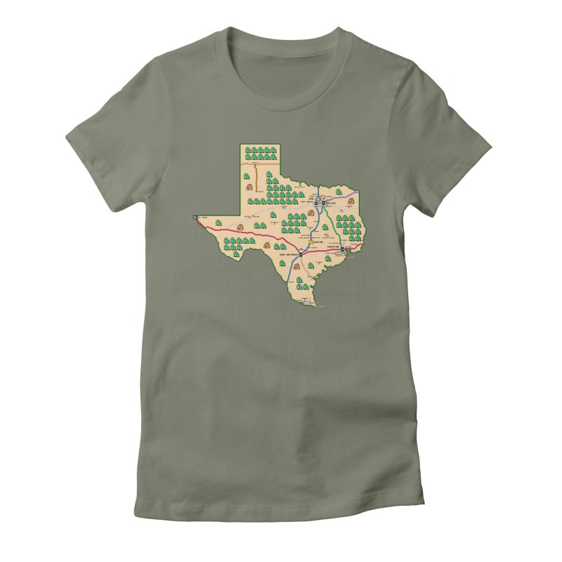 Texas Super Mario 3 Women's Fitted T-Shirt by Mario Maps