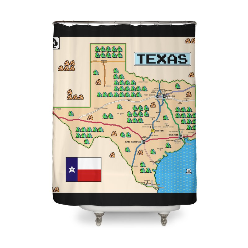 Texas Super Mario 3 Home Shower Curtain by Mario Maps