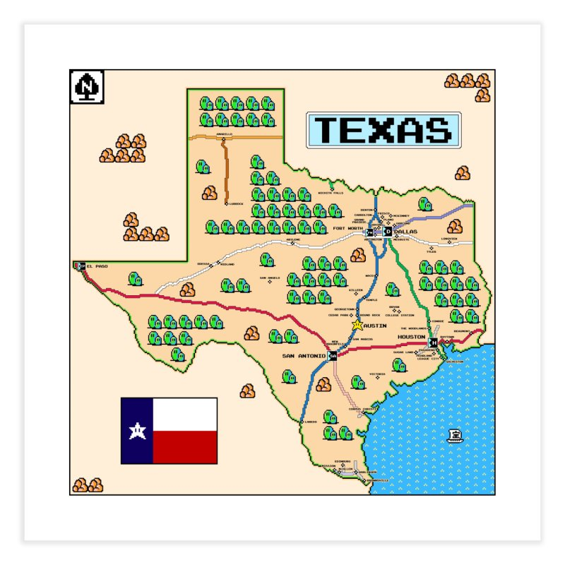 Texas Super Mario 3 Home Fine Art Print by Mario Maps