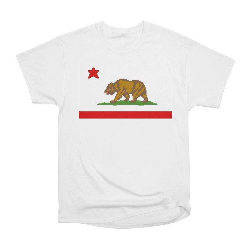 California Pixel Flag Men's Heavyweight T-Shirt by Mario Maps