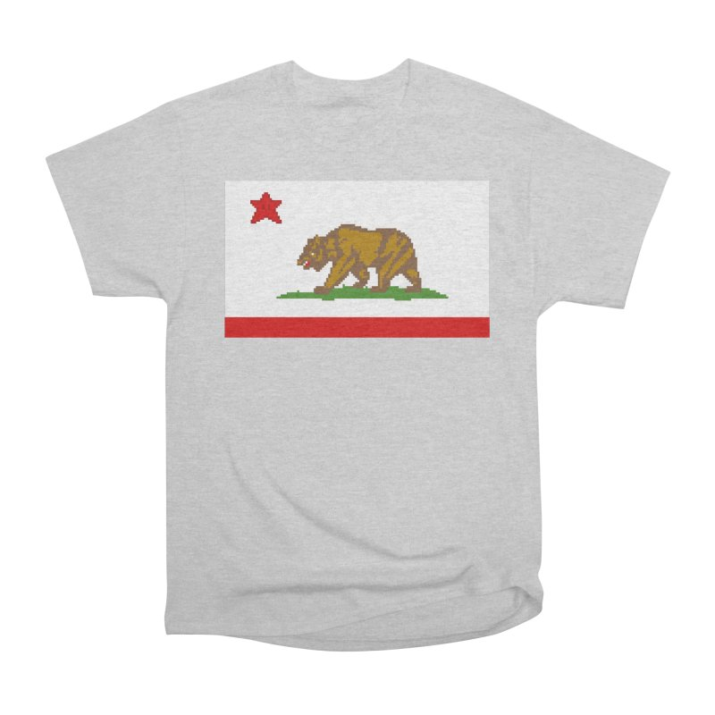 California Pixel Flag Women's Heavyweight Unisex T-Shirt by Mario Maps