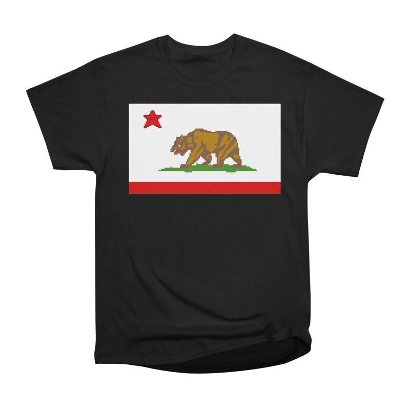 California Pixel Flag Men's Heavyweight T-Shirt by Mario Maps