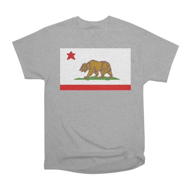 California Pixel Flag Women's Heavyweight Unisex T-Shirt by Mario Maps