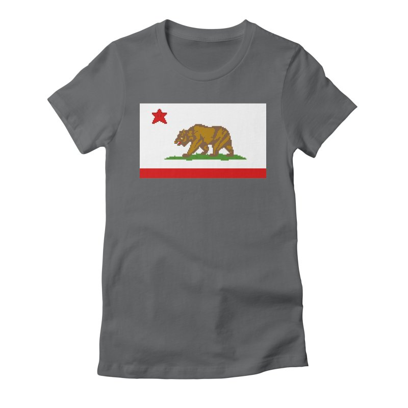 California Pixel Flag Women's Fitted T-Shirt by Mario Maps