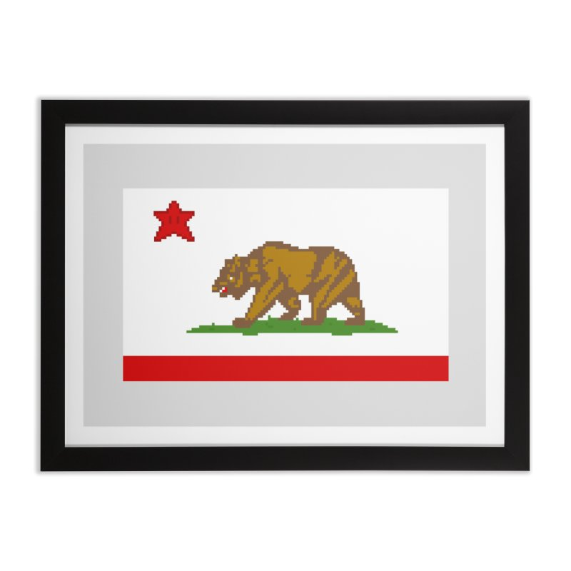 California Pixel Flag Home Framed Fine Art Print by Mario Maps