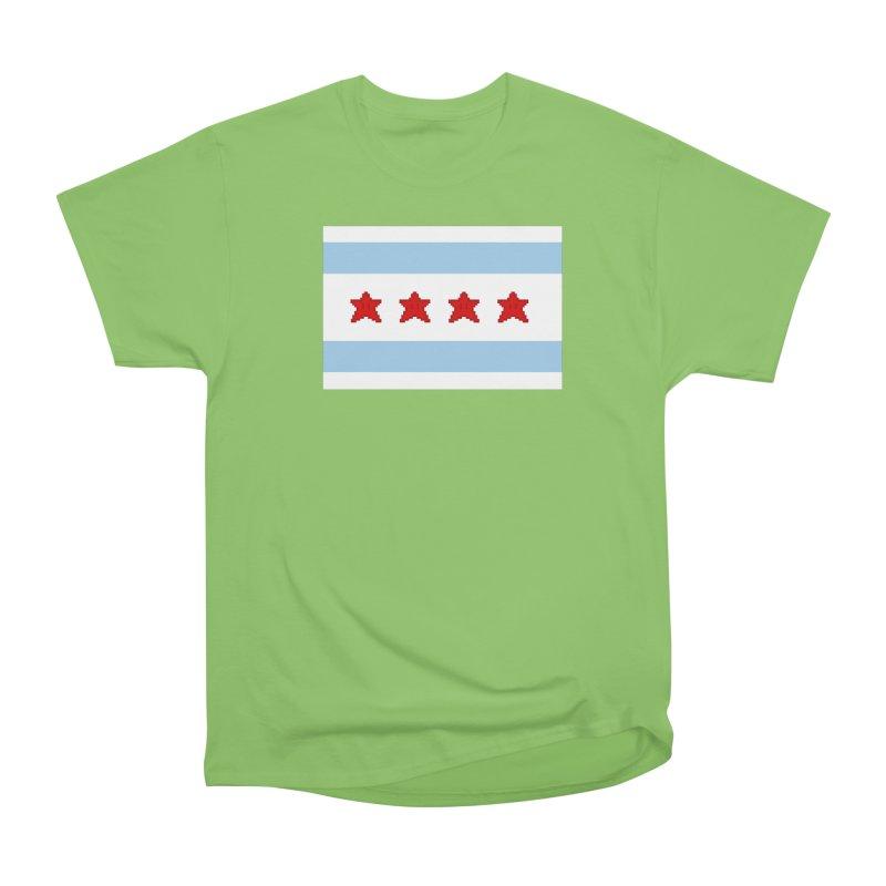 Chicago Pixel Flag Men's Heavyweight T-Shirt by Mario Maps