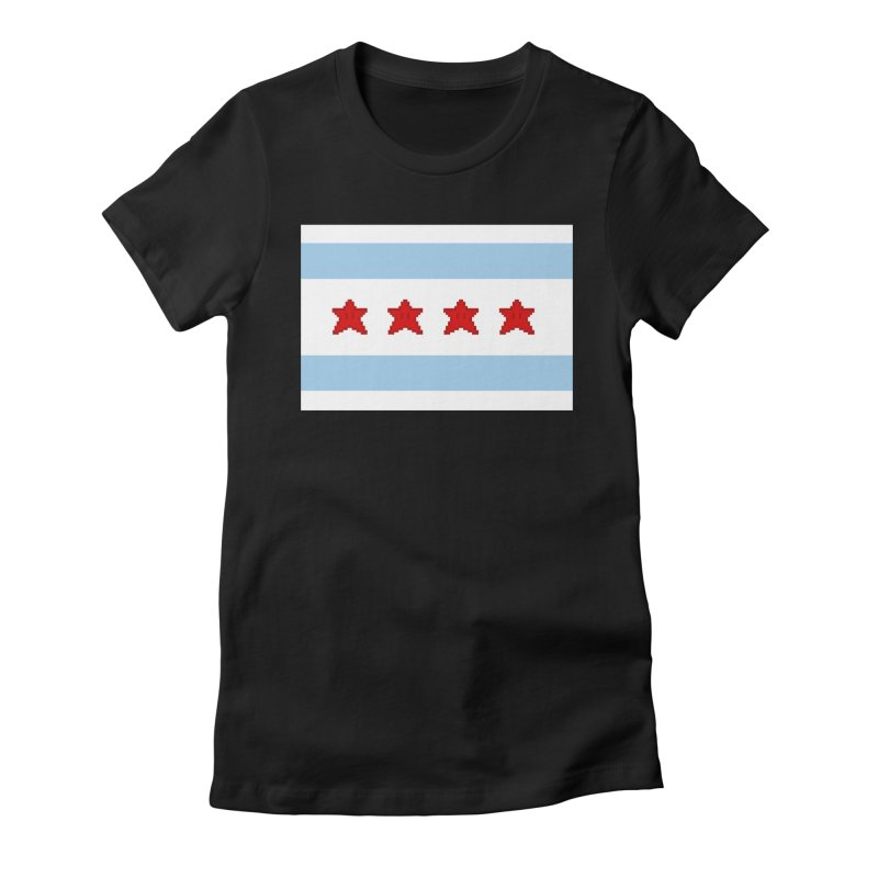 Chicago Pixel Flag Women's Fitted T-Shirt by Mario Maps