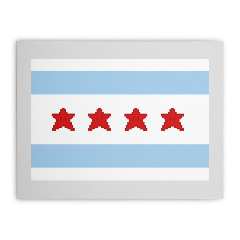 Chicago Pixel Flag Home Stretched Canvas by Mario Maps