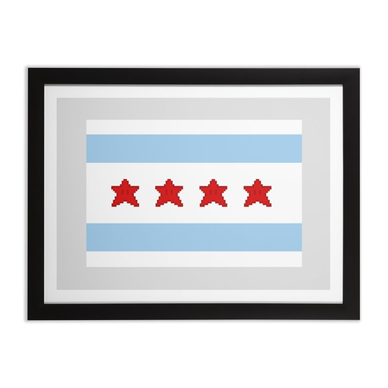 Chicago Pixel Flag Home Framed Fine Art Print by Mario Maps