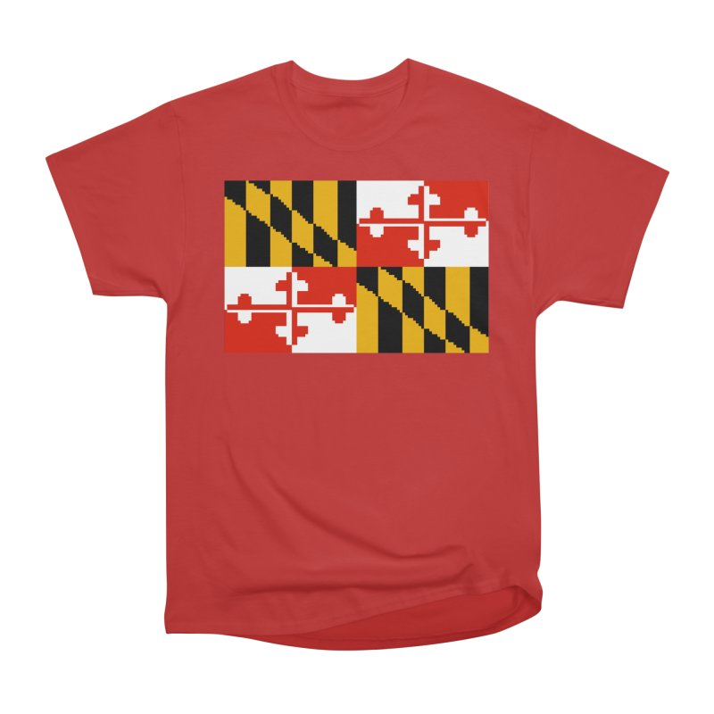 Maryland Pixel Flag Men's Heavyweight T-Shirt by Mario Maps