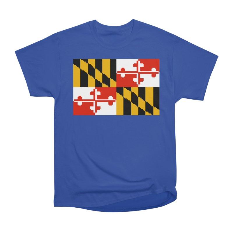 Maryland Pixel Flag Men's Heavyweight T-Shirt by Mario Maps