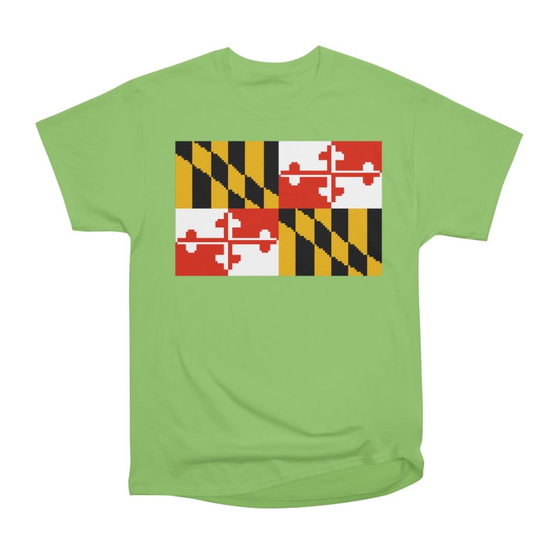 Maryland Pixel Flag Women's Heavyweight Unisex T-Shirt by Mario Maps