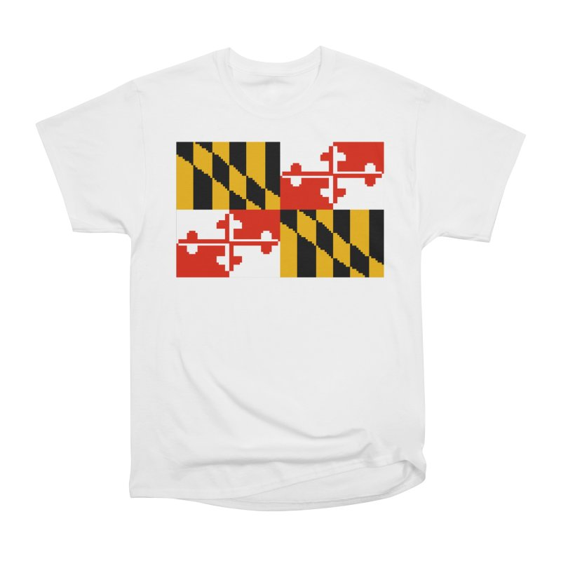 Maryland Pixel Flag Women's Heavyweight Unisex T-Shirt by Mario Maps