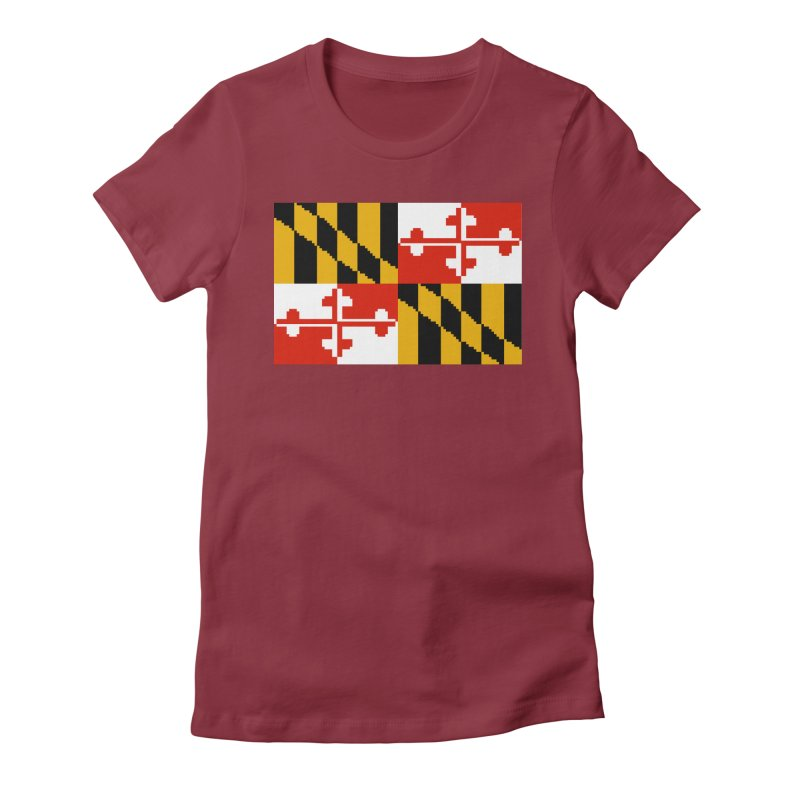 Maryland Pixel Flag Women's Fitted T-Shirt by Mario Maps