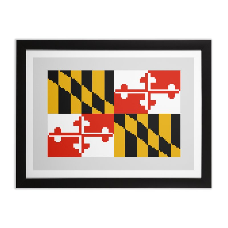 Maryland Pixel Flag Home Framed Fine Art Print by Mario Maps