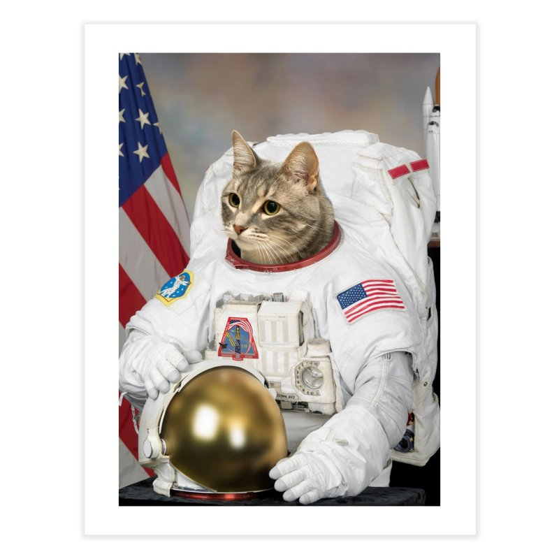 Pet Astronauts (Cat) Home Fine Art Print by Mario Maps