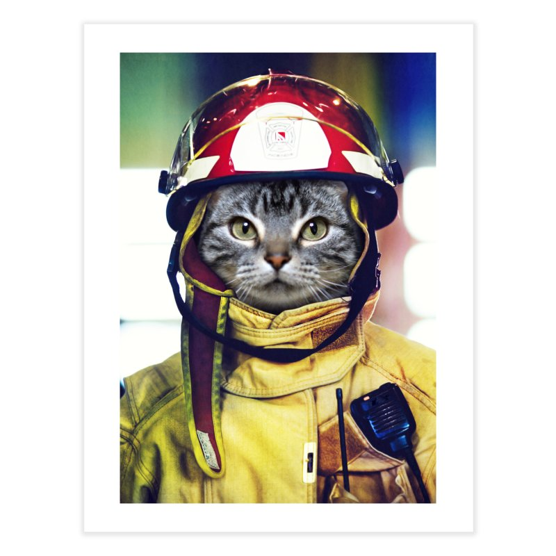 Cat Firefighter Home Fine Art Print by Mario Maps