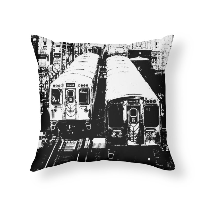 Chicago Trains Loop Home Throw Pillow by Mario Maps