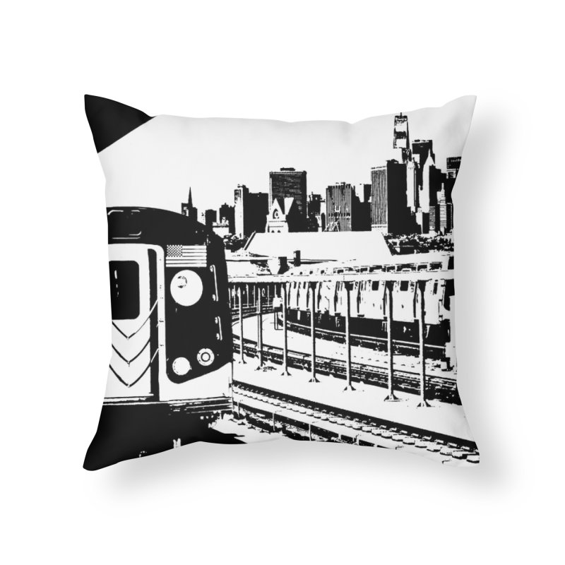 New York City Train With Skyline Home Throw Pillow by Mario Maps