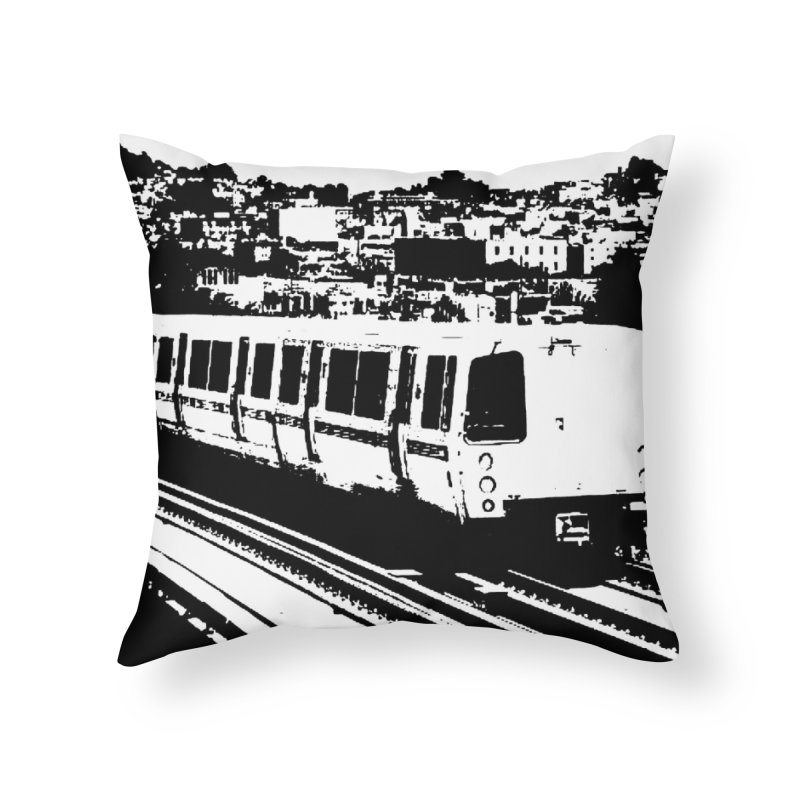 Bay Area Train Home Throw Pillow by Mario Maps