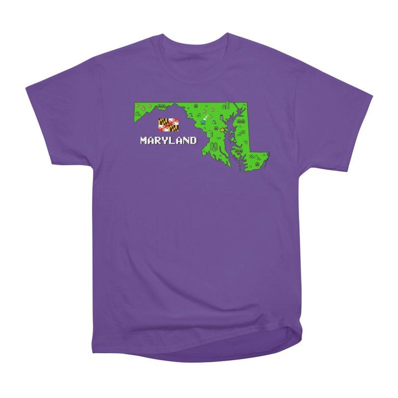Maryland Super Mario World Men's Heavyweight T-Shirt by Mario Maps