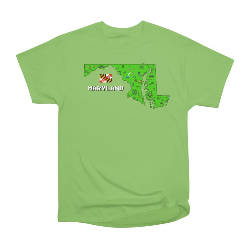 Maryland Super Mario World Men's Heavyweight T-Shirt by Mario Maps