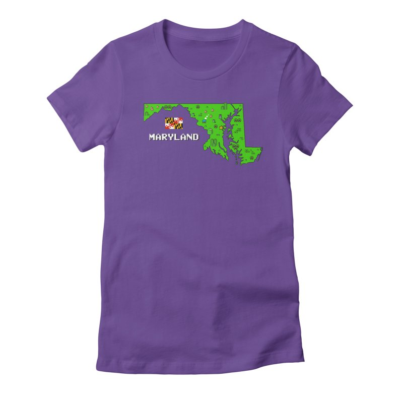 Maryland Super Mario World Women's Fitted T-Shirt by Mario Maps