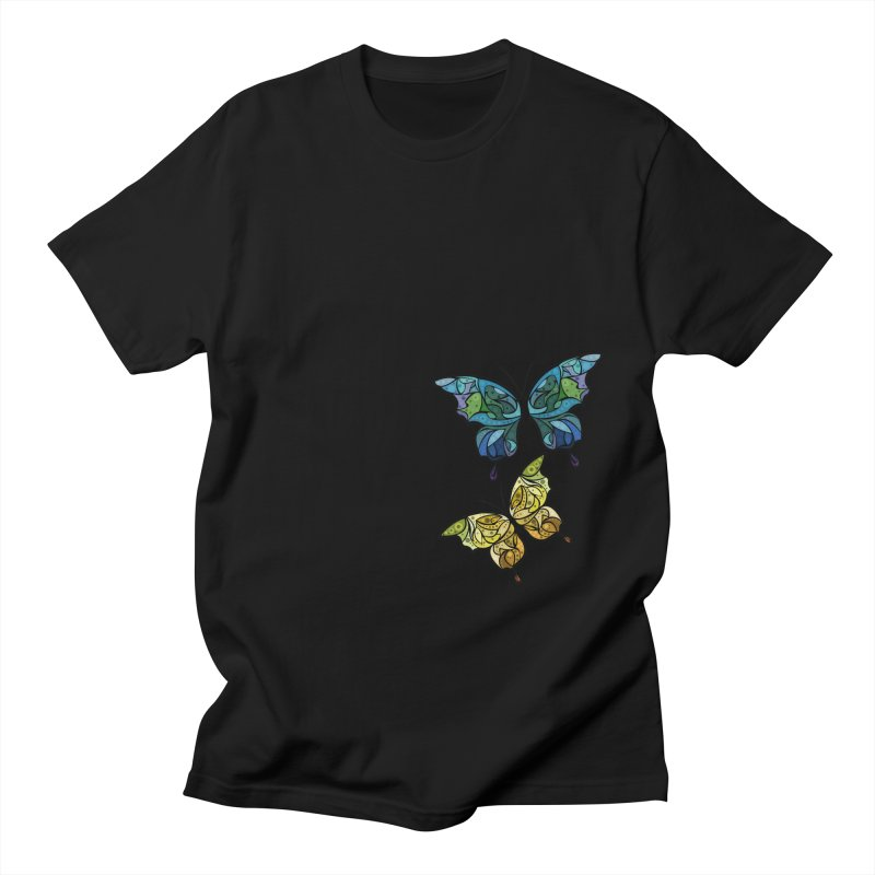 Chasing Butterflies in Men's T-shirt Black by Dreamspring