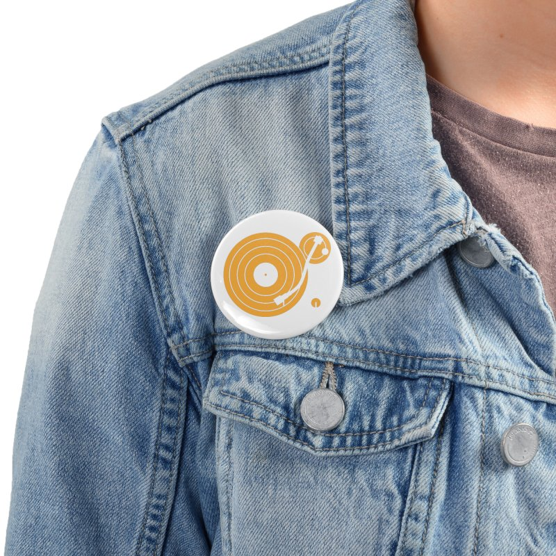 Turntable - Orange Accessories Button by Mark LaPoint's Artist Shop