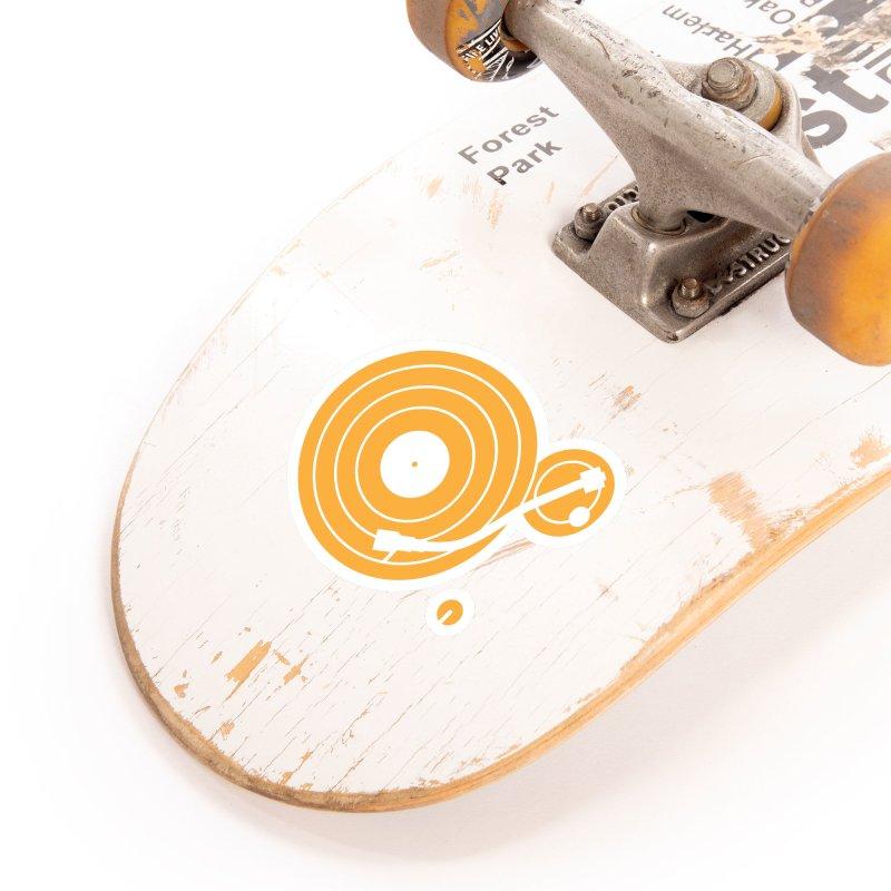 Turntable - Orange Accessories Sticker by Mark LaPoint's Artist Shop
