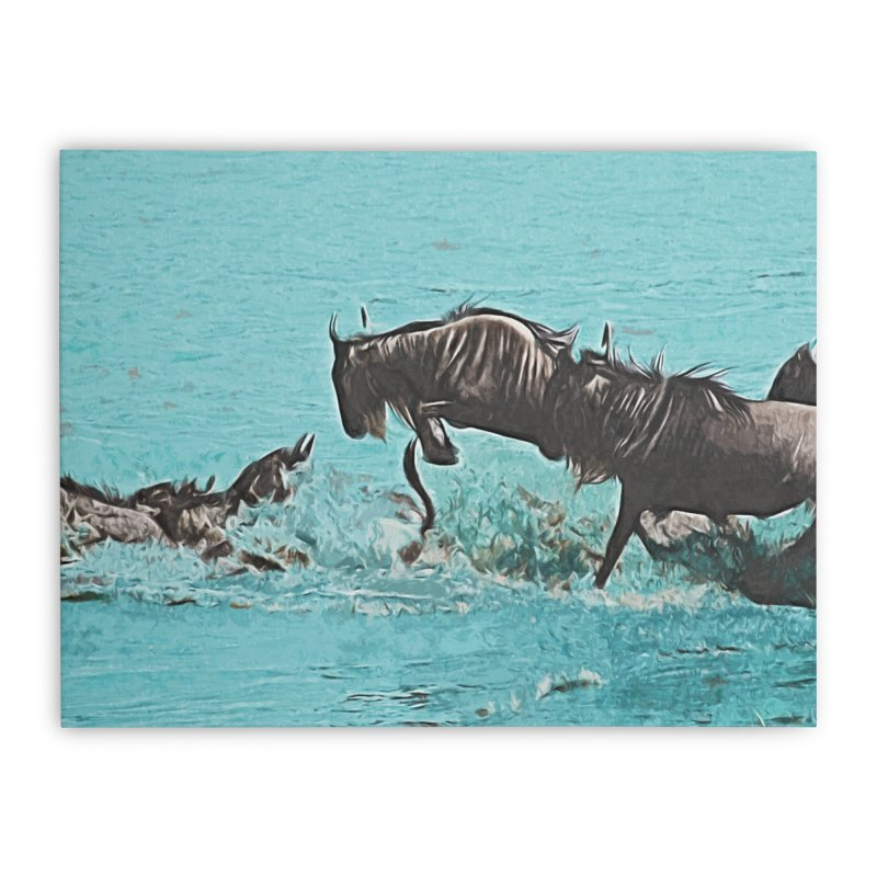 Wildebeest Crossing Home Stretched Canvas by markurz's Artist Shop