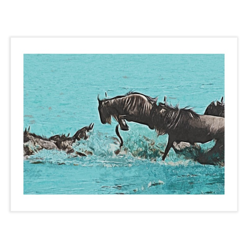 Wildebeest Crossing Home Fine Art Print by markurz's Artist Shop