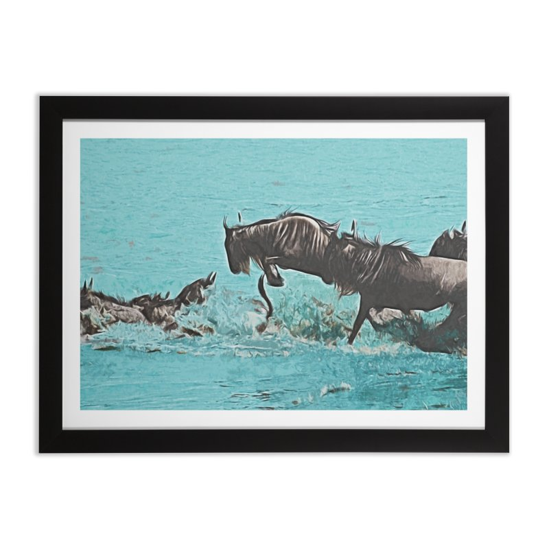 Wildebeest Crossing Home Framed Fine Art Print by markurz's Artist Shop