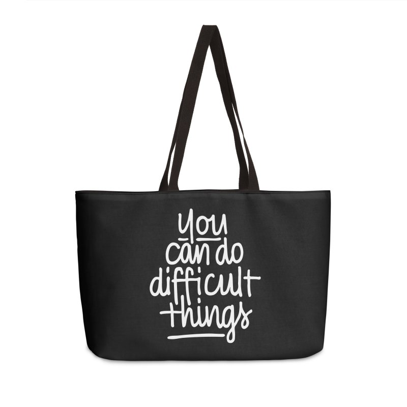 Difficult Things (white) Accessories Weekender Bag Bag by marlamakesstuff's Artist Shop