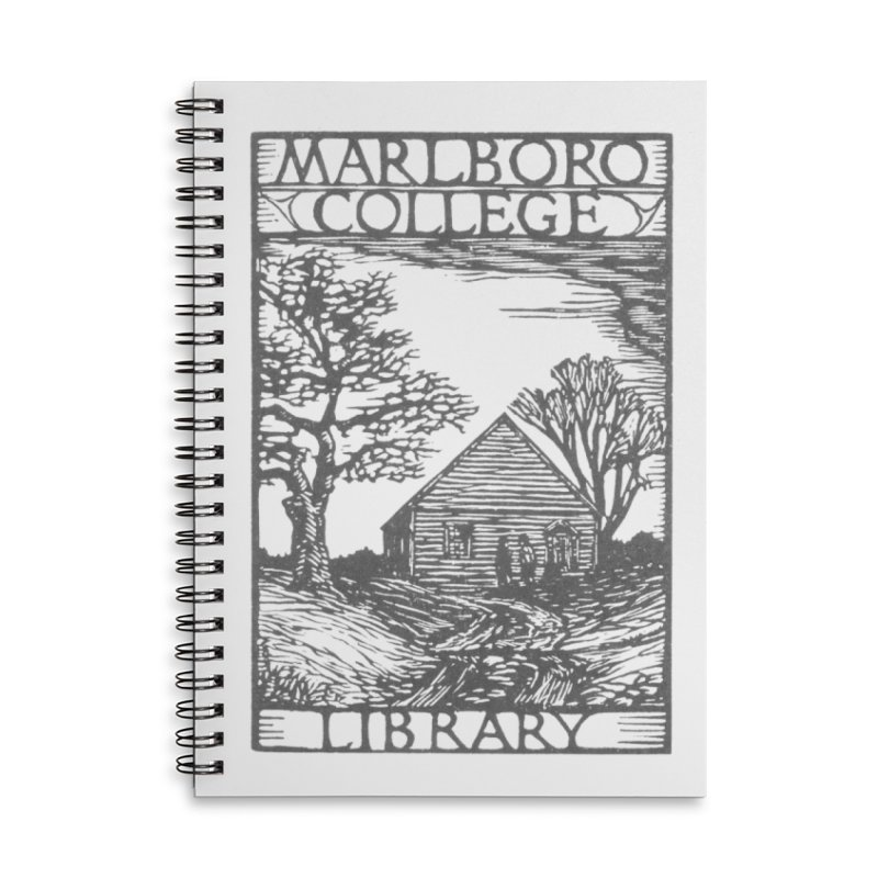 Library Woodcut Notebook Accessories Lined Spiral Notebook by Marlboro Store's Artist Shop