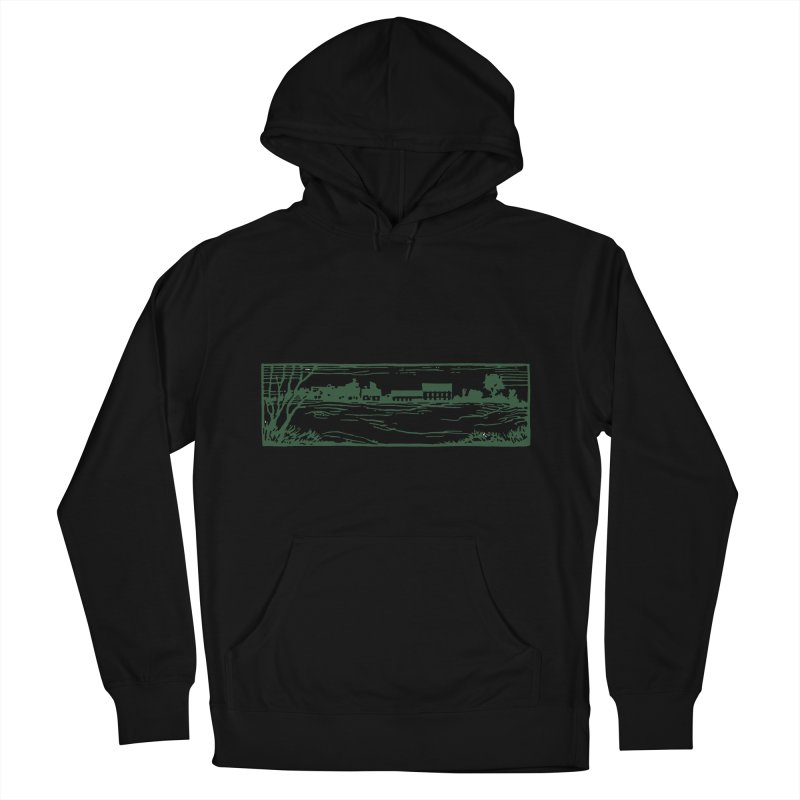 Unisex Sweatshirt  with Campus Woodcut in Men's French Terry Pullover Hoody Black by Marlboro Store's Artist Shop