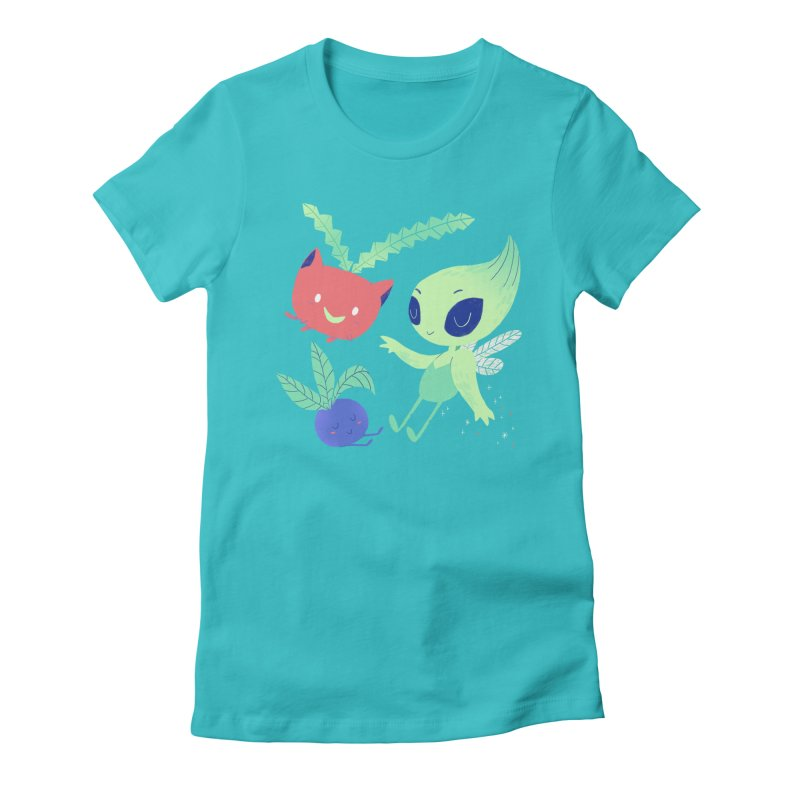 Grass Type Friends Women's Fitted T-Shirt by Marlowe Dobbe