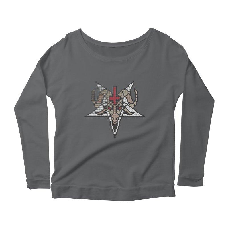 Pentagram cross stitching Women's Scoop Neck Longsleeve T-Shirt by marpeach's Artist Shop