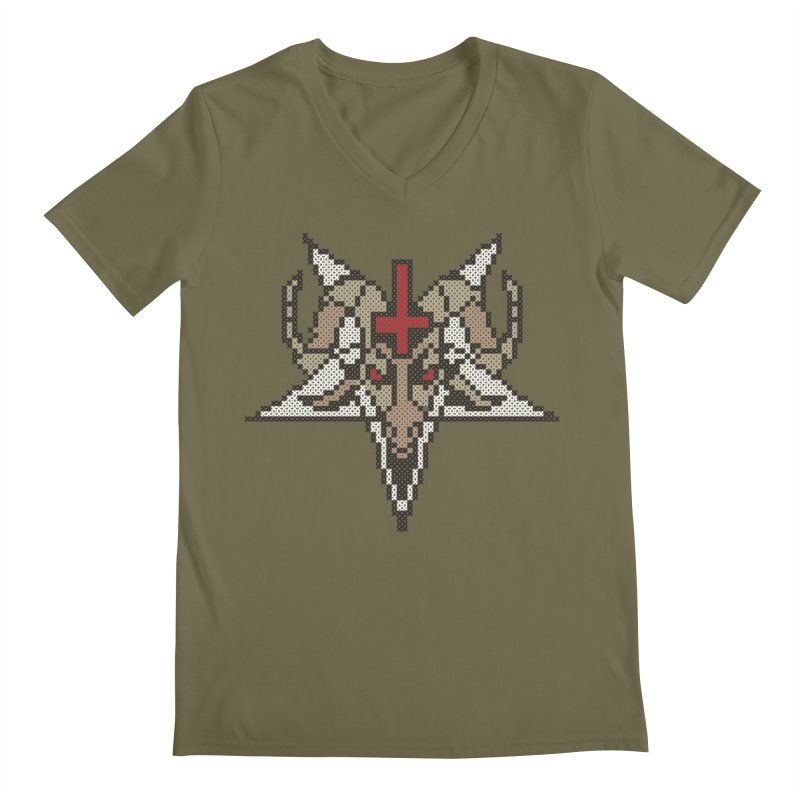 Pentagram cross stitching Men's V-Neck by marpeach's Artist Shop
